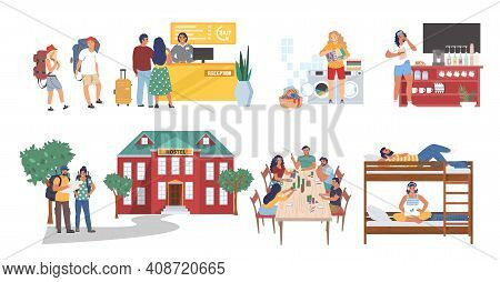 Hostel Cartoon Character Set, Flat Vector Isolated Illustration. Tourists, Students Living In Cheap