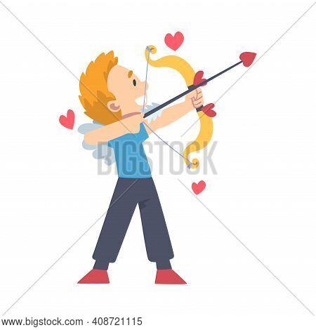 Cute Funny Cupid Boy, Adorable Joyful Kid Angel Cherub Shooting With Bow Cartoon Style Vector Illust
