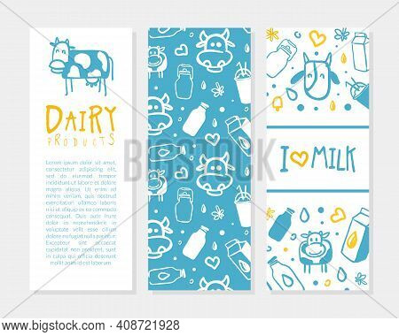 Dairy Products Card Template With Space For Text, Natural Eco Milk Food Banner, Brochure, Flyer, Pos