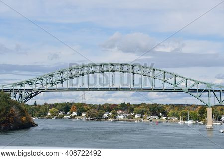 Portsmouth, Nh - Oct 3: Piscataqua River Bridge In Portsmouth, New Hampshire, As Seen On Oct 3, 2020