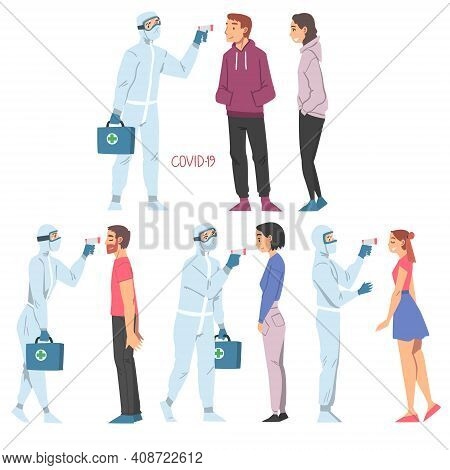 Doctors Measuring Temperature Of People With Body Temperature Scanner Set, Medical Professionals In