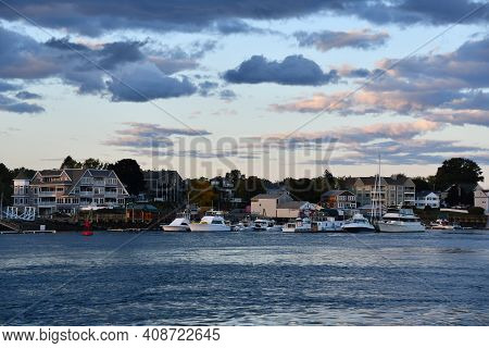 Portsmouth, Nh - Oct 4: Portsmouth Harbor In New Hampshire, As Seen On Oct 4, 2020.