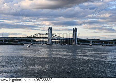 Portsmouth, Nh - Oct 3: Sarah Mildred Long Bridge And Piscataqua River Bridge In Portsmouth, New Ham