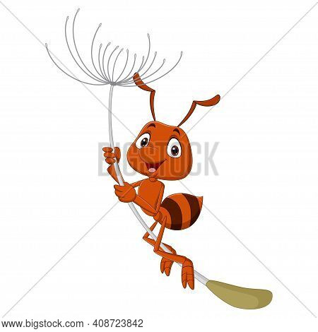 Vector Illustration Of Cute Ant Cartoon Flying With Dandelion