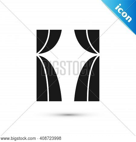 Grey Circus Curtain Raises Icon Isolated On White Background. For Theater Or Opera Scene Backdrop, C