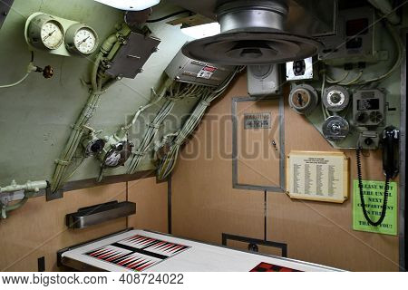 Portsmouth, Nh - Oct 3: Inside Uss Albacore Submarine (agss-569) In Portsmouth, New Hampshire, As Se