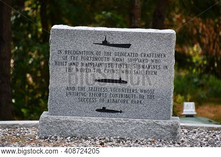 Portsmouth, Nh - Oct 3: Memorial Garden At The Uss Albacore Submarine (agss-569) In Portsmouth, New