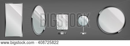 3d Mirrors, Make Up Table And Wall Decorative Glasses In Round, Oval And Rectangular Frames. Makeup