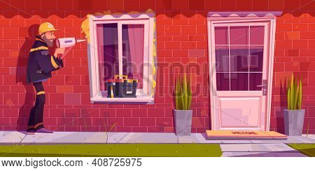 Worker Installs Plastic Window At House. Construction And Repair Works Service. Vector Cartoon Illus