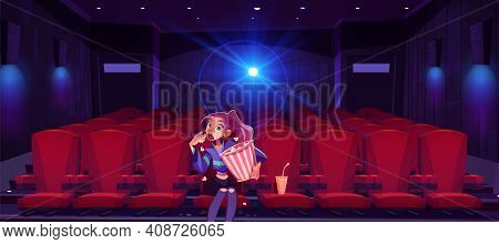 Young Woman In Cinema Mesmerized Girl With Pop Corn Bucket In Hands Sitting Alone In Movie Theater H