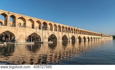 Isfahan, Iran - May 2019: Iranian People On Allahverdi Khan Bridge Also Known As Si-o-se-pol Bridge,