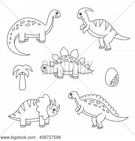 Color All Cartoon Dinosaur. Game For Kids.