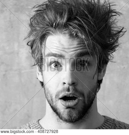 Surprised Man Face, Close Up. Funny Man With Open Nouth, Closeup. Young Sexy Man Or Handsome Caucasi