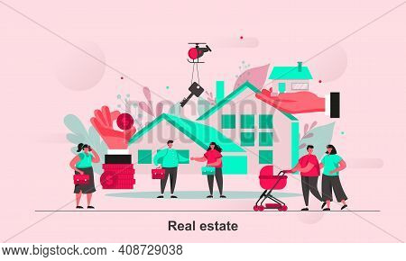 Real Estate Web Concept Design In Flat Style. Real Property Purchase, Rent And Mortgage Scene Visual