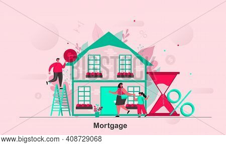 Mortgage Web Concept Design In Flat Style. Purchasers Of Real Property Scene Visualization. Mortgage