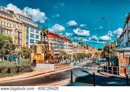 Prague, Czech Republic-september 12, 2015: Wenceslas Square With People - The Central Square Of The