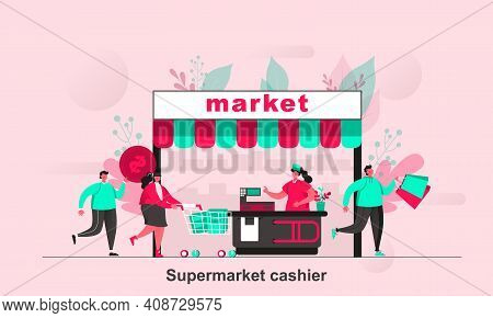 Supermarket Cashier Web Concept In Flat Style. Supermarket Buyers And Cashier Behind Counter With Ca