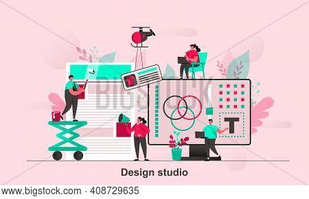 Design Studio Web Concept Design In Flat Style. Designers Teamwork With Web Project Scene Visualizat