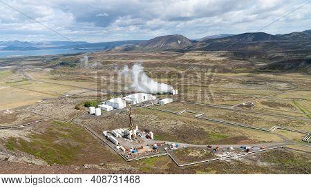 Nesjavellir, Iceland - May 2019: Nesjavellir Geothermal Facilities In Iceland. Geothermal Area With