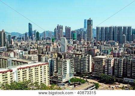 hong kong downtown at day