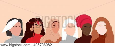 Portrait Of Different Nationalities And Cultures Woman. Girls Standing Together. Womens Friendship,