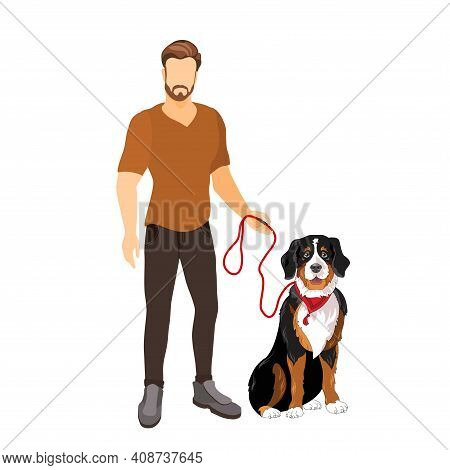 Young Man And Dog Walk. Pet Owner. Vector Flat Illustration.