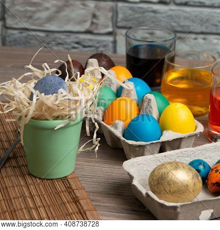 Colorful Easter Eggs On The Kitchen Table. Easter Egg Coloring