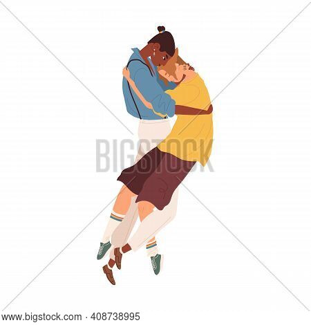 Interracial Lgbt Couple Of Young Men Hugging. Intimacy Between Gays Or Homosexual Romantic Partners.