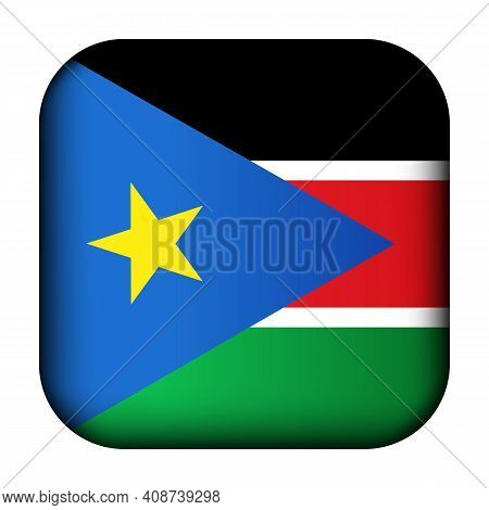 Glass Light Ball With Flag Of South Sudan. Squared Template Icon. Sudanese National Symbol. Glossy R