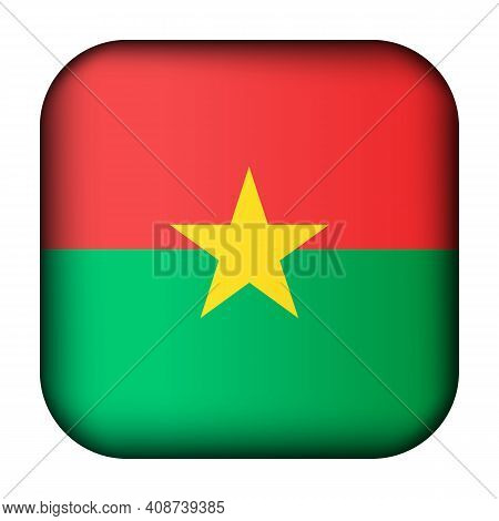 Glass Light Ball With Flag Of Burkina Faso. Squared Template Icon. National Symbol. Glossy Realistic