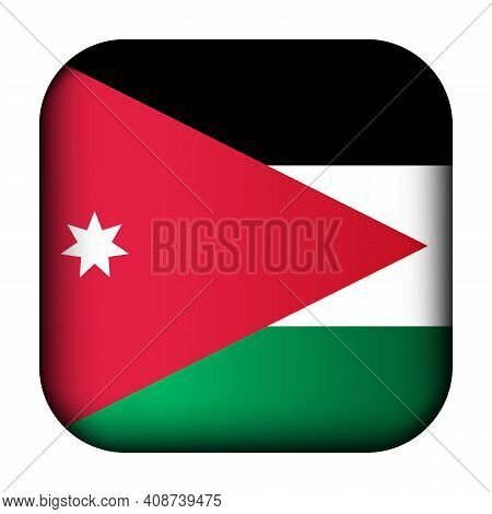 Glass Light Ball With Flag Of Jordan. Squared Template Icon. National Symbol. Glossy Realistic Cube,