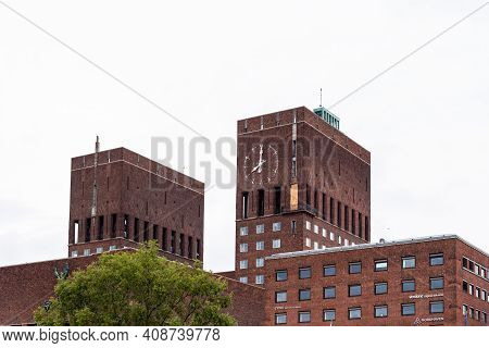 Oslo, Norway - August 10, 2019: Oslo City Hall. It Houses The City Council. It Is The Seat Of The Ce