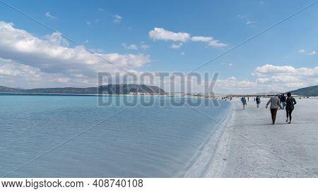 Salda Lake, Burdur, Turkey - October 2019: Tourists Walking In The Beach Of Salda Lake. Salda Lake B