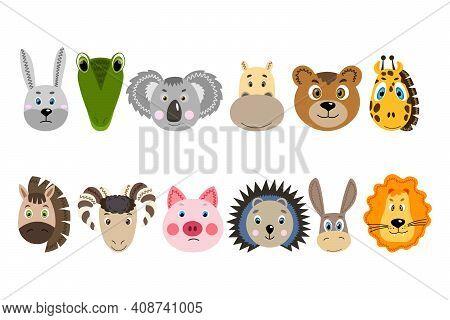 Set With Colorful Cute Animal Face. Hare, Crocodile, Koala, Hippopotamus, Bear, Giraffe, Horse, Ram,