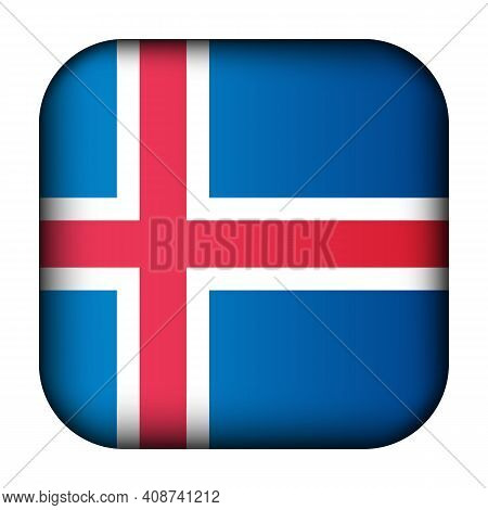 Glass Light Ball With Flag Of Iceland. Squared Template Icon. Icelandic National Symbol. Glossy Real