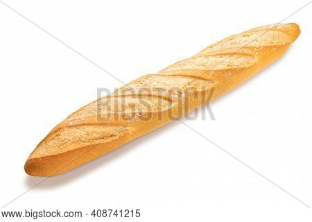 Freshly Baked And Crispy French Bread Stick. Isolated On White Background Side View.