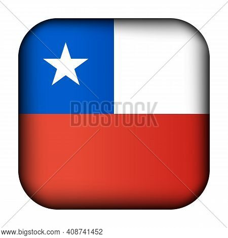 Glass Light Ball With Flag Of Chile. Squared Template Icon. Chilean National Symbol. Glossy Realisti