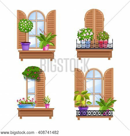 Old Town Vector Window Wooden Vintage Frames Collection With Shutters, Sill, Glass, House Plants. Ar