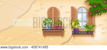 European Old Town Windows Illustration, Brick Wall, House Plants, Wooden Shutters, Blossom Tree, Ivy