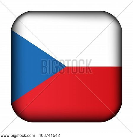 Glass Light Ball With Flag Of Czech Republic. Squared Template Icon. National Symbol. Glossy Realist