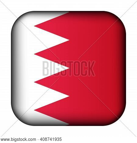 Glass Light Ball With Flag Of Bahrain. Squared Template Icon. National Symbol. Glossy Realistic Cube