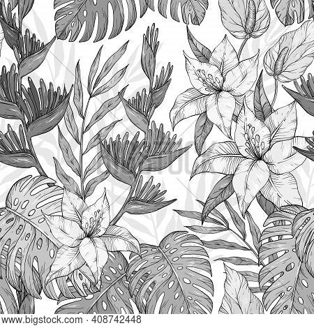 Seamless Monochrome Exotic Pattern With Tropical Leaves And Flowers. Blooming Jungle. Vector Illustr