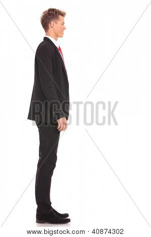Business man waiting in queue on white background