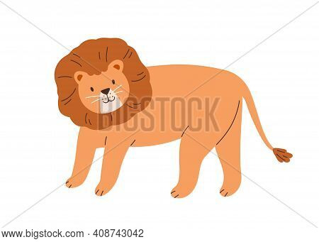 Cute Lion With Thick Mane Isolated On White Background. Funny Feline Animal. Childish Character. Col