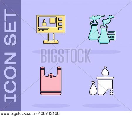Set Full Dustbin, Television Report, Plastic Bag And Smoke From Factory Icon. Vector