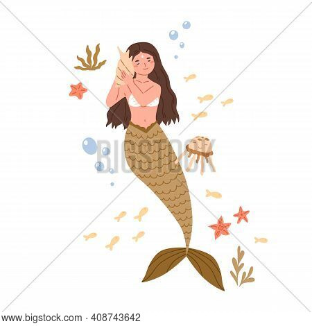 Beautiful Mermaid With Long Hair And Fish Tail Listening To Music With Seashell. Cute Underwater Fai