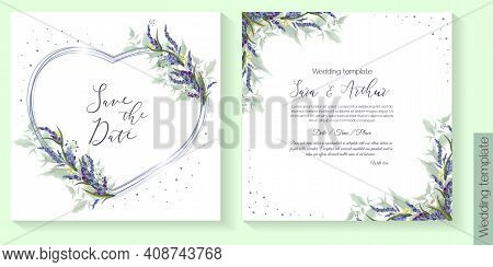 Floral Vector Template For Wedding Invitation. Lavender, Frame In The Form Of A Rose, Green Leaves.
