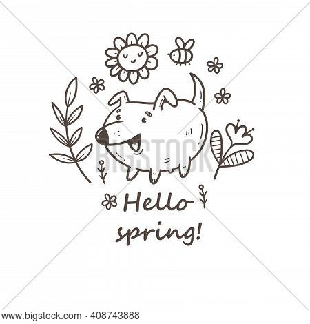 Card With Cute Cartoon Puppy And Plants. Doodle Floral Poster. Spring Vector Print With Dog.