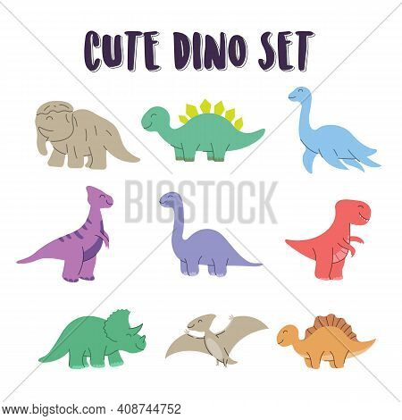 Set Of Element Cute Dino Coloring. Dino Set, Happy Cute Colorful Dinosaurs