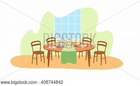 Easter Dinner Table Setting 2d Vector Web Banner, Poster. Home Dining Room Flat Scene On Cartoon Bac